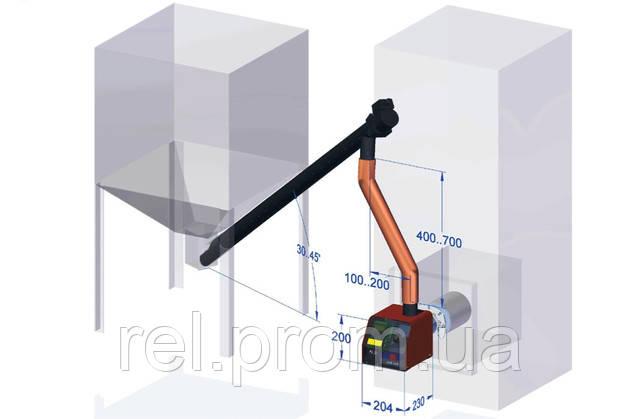 Схема пеллетного котла TERMOMONT и топливного бункера
