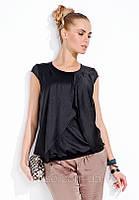Блуза Joyce Zaps черного цвета, асимметричного кроя, с коротким рукавом, коллекция Zaps весна-лето 2014