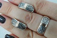 Украшения из серебра с золотыми пластинами в наборе - кольцо и серьги