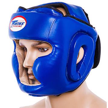 Шлем боксерский закрытый синий Flex Twins TW475-BL (реплика), фото 2