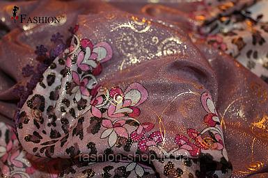 Платок женский с золотым напылением Фиолетовый