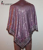 Платок женский с золотым напылением Фиолетовый, фото 3