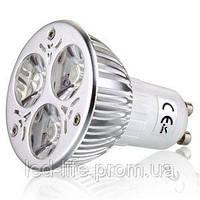 Светодиодная лампа GU10 3W белый холодный (3*1W LED)