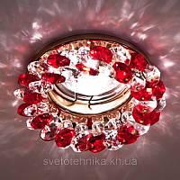 Встраиваемый декоративный светильник с кристаллами Feron CD4141 красный - золото