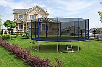 Батут Hop-Sport диаметром 488см (16ft) спортивный для детей с лестницей и внешней сеткой