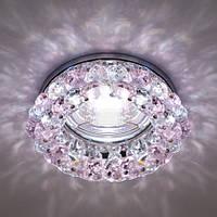 Встраиваемый декоративный светильник с кристаллами Feron CD4141 розовый - золото