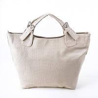 Бежевая сумка М51-12 шоппер фигурной формы в крокодиле, фото 1