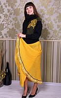 Женская вязанная юбка в пол жёлтая