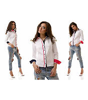 Модная белая женская блузка рубашка