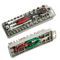 Набор насадок-отверток и торцевых головок с трещоткой и длинногубцами Pro'sKit SD-2308M