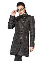 Женская длинная куртка черная, фото 1