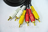 Аудио-видео кабель, MYE Audio/Video cable, тюльпан — тюльпан, 3RCA-3RCA, 5м, фото 5