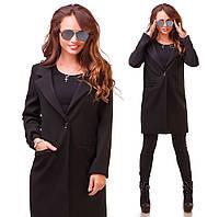 Модное черное  пальто из кашемира с карманами.  Арт-9763/83