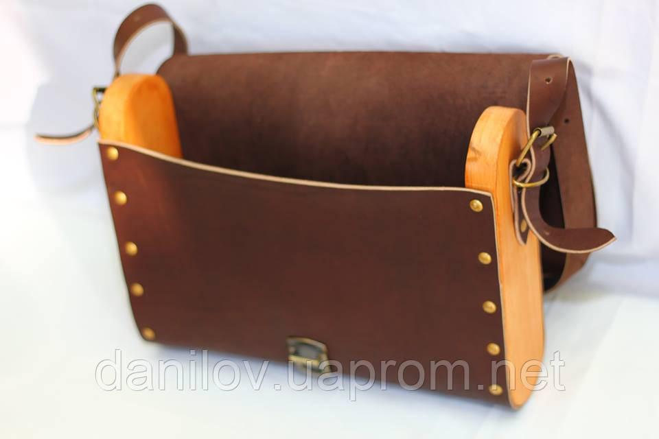 2e937319db4b Кожаная сумка ручной работы с деревянными боковушками: продажа, цена ...