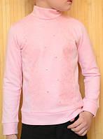Кофточка детская с начесом, с кружевом и стразами из хлопка розового цвета. Жасмин