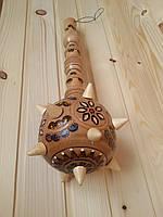 Сувенирная деревянная булава 40 см с элементами выжигания, светлая