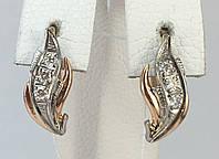 Серьги с бриллиантом золотые 583 пробы,СССР