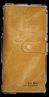 Практичный женский кошелек YA MEI горчичного цвета на кнопке NNB-080300