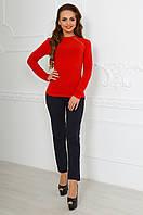 Женский красный  ангоровый свитер со змейкой. Арт-9766/83