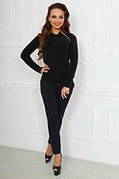 Женский черный  ангоровый свитер со змейкой. Арт-9766/83
