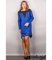 Трикотажное женское платье Этилия электрик Olis-Style 44-54 размеры