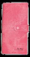 Стильный женский кошелек YA MEI розового цвета на кнопке NNB-080400