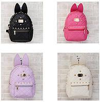 Модный стеганый, дутый рюкзак с ушками и заклепками. Стильный дизайн. Отличное качество.  Код: КГ398