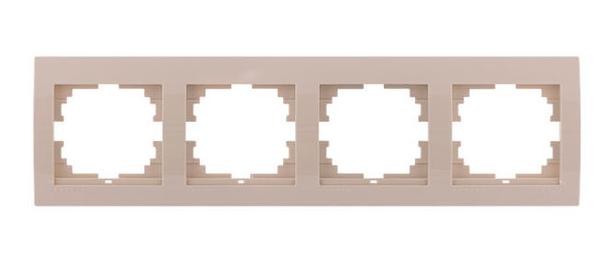 Lezard Deriy Рамка 4-ая горизонтальная б/вст Крем