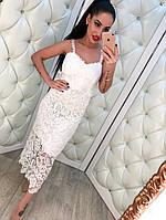Женское стильное длинное платье-миди из кружева на брительках (2 цвета)