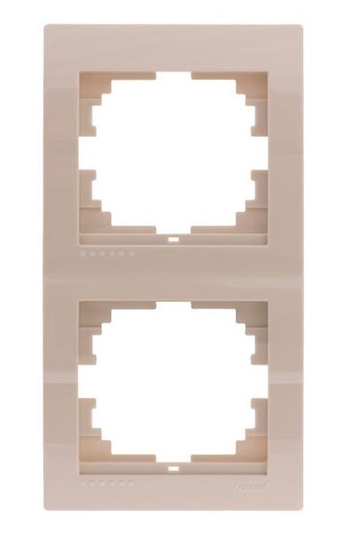 Lezard Deriy Рамка 2-ая вертикальная б/вст Крем