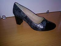 Женские туфли весна-осень замшевые черные с лазерной обработкой под серебро