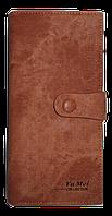Интересный женский кошелек YA MEI коричневого цвета на кнопке NNB-080700