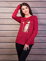 Женский красный свитшот из ангоры с модным рисунком