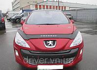 Дефлектор капота (мухобойка) Peugeot 308 2008-, на крепежах