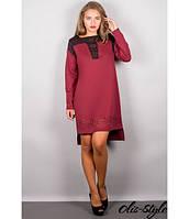 Трикотажное женское бордовое  платье Этилия   Olis-Style 44-54 размеры