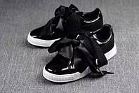 Женские кроссовки Pume Basket Heart Patent черные, фото 1