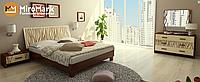 Терра кровать 160 подъемная с каркасом глянец ваниль-вишня бюзум