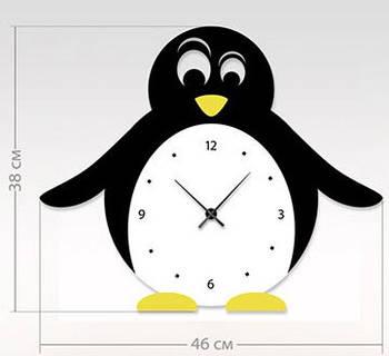 """Детские настенные часы """"Пингвин"""" (46x38 см) [Акрил, Открытые]"""