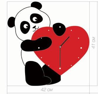 """Детские настенные часы """"Панда с сердечком"""" (41х42 см) [Акрил, Открытые]"""