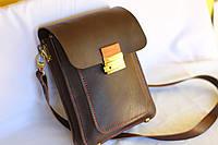 Кожаная сумка - планшетка ручной работы