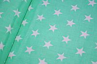"""Польская хлопковая ткань """"звезды белые на мятном"""""""
