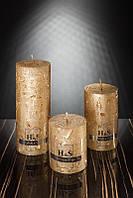 Декоративная дизайнерская свеча  Цилиндр золотой 60/100mm