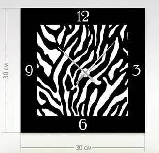 """Настенные часы """"Зебра"""" (30x30 см) [Акрил, Открытые]"""