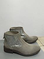Ботинки женские демисезонные замшевые серые короткие Ivoire