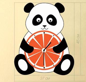 """Детские настенные часы """"Панда"""" (44х37 см) [Акрил, Открытые]"""