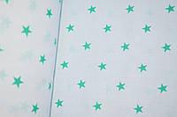 """Польская хлопковая ткань """"звезды мятные мелкие на белом"""""""