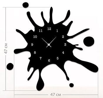 """Настенные часы """"Клякса"""" (47x47 см) [Акрил, Открытые]"""