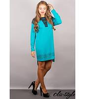 Трикотажное женское бирюзовое  платье Этилия   Olis-Style 44-54 размеры