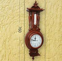 Деревянные часы с термометром (76x10x25 см) [Дерево]