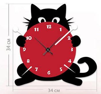 """Настенные часы """"Кот"""" (34x34 см) [Акрил, Открытые]"""
